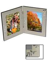 4x6 Hinged Picture Frame With Reflective Leaf Accents