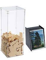 Acrylic donation boxes with sign holders