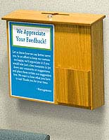 This wood suggestion box is available in black, oak or mahogany