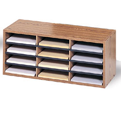 Wood Literature Organizer 12 Slot Wooden File Rack