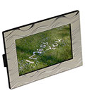Silver Plated Picture Frame with Wavy Line Pattern