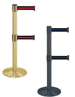 Dual belt stanchions with retractable webbing