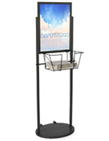 Black 18 x 24 Mobile Poster & Literature Stand with Poster Backing