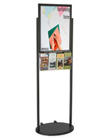 Black 18 x 24 Mobile Poster Stand with 4 Brochure Pockets, Acrylic Holder