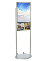 18 x 24 Silver Mobile Poster Stand with 4 Leaflet Pockets with Oval Base