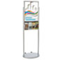 Silver 18 x 24 Wheeled Poster Display with 8 Flyer Pockets, Double Sided