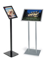 Display stands for signage with snap frames