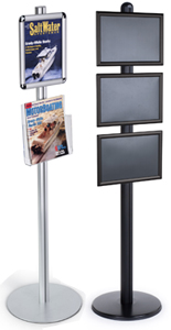 Display stands with snap frame