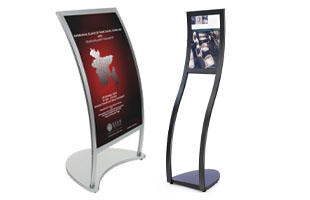 curved sign stands
