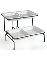 2 Tier Serving Tray with Dishwasher Safe Dishes