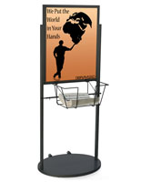 Black Wheeled 22 x 28 Poster & Literature Stand with Wired Basket