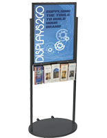 Black 22 x 28 Movable Poster Stand with 5 Literature Slots, Rolling Signage