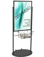 Black 24 x 36 Poster and Literature Stand with Wheels, Holds Two Graphics