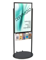 Black 24 x 36 Mobile Poster Display with 10 Literature Slots with Welded Skirt for Base