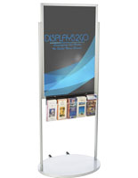 Mobile Silver 24 X 36 Poster Display with 10 Compartments, Aluminum Frame