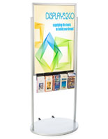 Silver 24 x 36 Moveable Poster Stand with 5 Literature Pockets with Top Insert