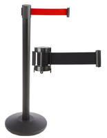 Retractable belt stanchions for crowd control