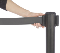 Retractable belt barriers with nine foot bands