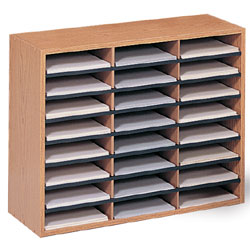 Wood Paper Organizer Literature Sorting Rack With 24 Trays