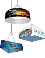 These ceiling hung banners are commonly seen at tradeshows and large conventions.