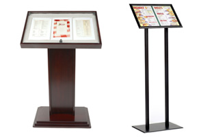 Menu Holders Sign Holders Covers Outdoor Cases Floor Stands - Restaurant table stands