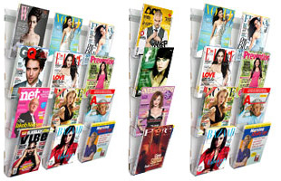 Tiered Magazine Wall Racks