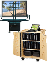 organize wires and cables with an av cart