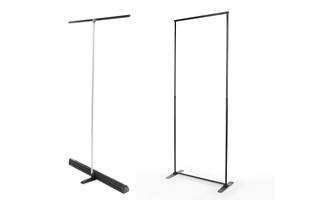 These banner stands are sold without custom graphics.