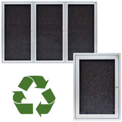 Bulletinboards with recycled rubber tack surfaces