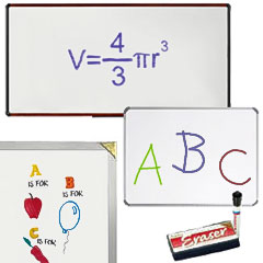 White dry erase boards for school and office