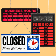 business hours signs