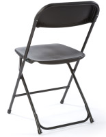 These plastic chairs feature a slim design & slanted back.