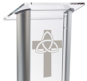 Church Podiums with Acrylic Cross Etching
