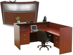 Office Reception Desks with Wood Finishes