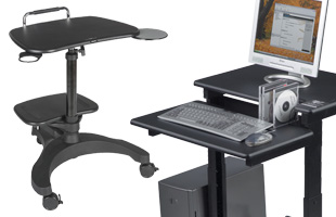 Laptop stands, medical equipment carts and mobile workstations