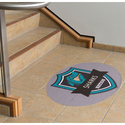 floor graphics on tile surface