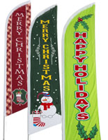 Holiday advertising feather flags