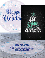 Retail window clings and floor decals for the holiday season