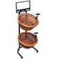 Rustic Dump Bin 2 Tier Wicker Basket Stand