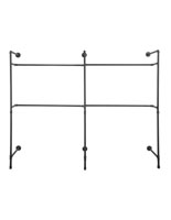 Industrial Wall Display Pipe Rack with 4 Clothing Hanger Bars