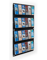 29 inch x 47.5 inch multi-pocket acrylic brochure rack with 24 adjustable pocket dividers