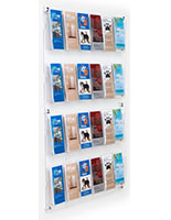 29 inch x 47.5 inch wall mounted acrylic literature display with clear backboard