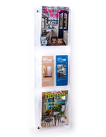Clear 3-tier wall mounted literature rack
