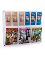 Clear wall mounted magazine rack