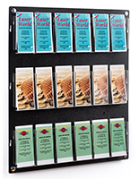 29.0 inch x 35.0 inch adjustable wall mounted literature holder can fit up to 18 stacks of brochures