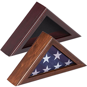 Display cases for 3 x 5 flags