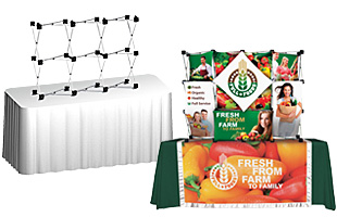 Multi-panel tabletop pop-up displays