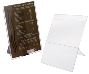 Clear plastic tabletop sign sleeves
