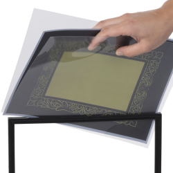Tabletop sign holder stands with open top frames