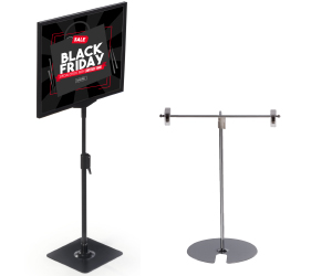 Clip style and framed tabletop sign holder stands
